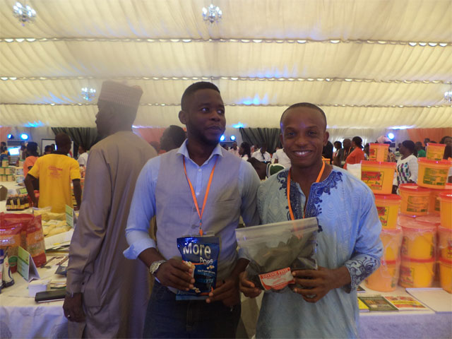 Olufemi Olumide of Motherland Recipies and Foods and Ugochukwu Ukwuegbu of Divine Fish Farm at Youwin Made in Nigeria Trade Exhibition