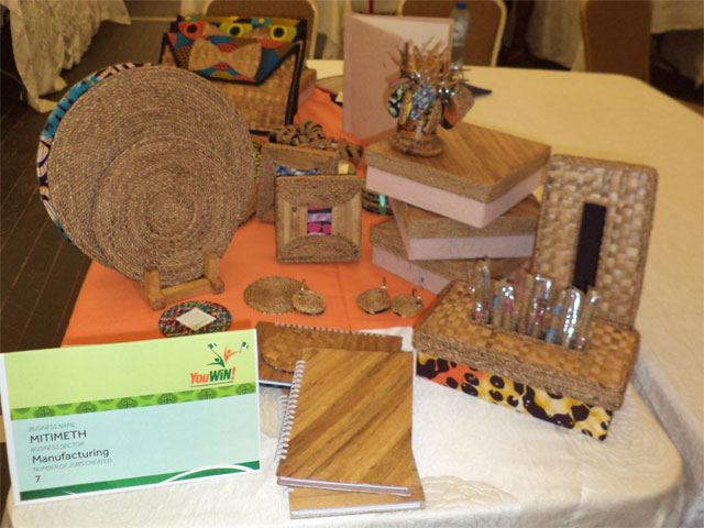 Craftwork on exhibit by Mitimeth at the Youwin made in Nigeria Exhibition