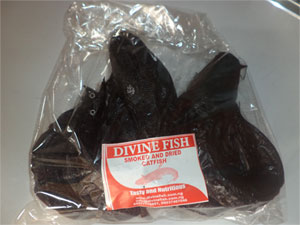 A pack of smoked and dried catfish from Divine Fish Farm