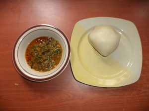 Banga soup served with fufu